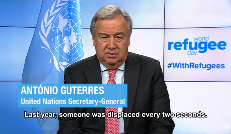 Antonio Guterres UN Secretary General speaks for World Refugee Day